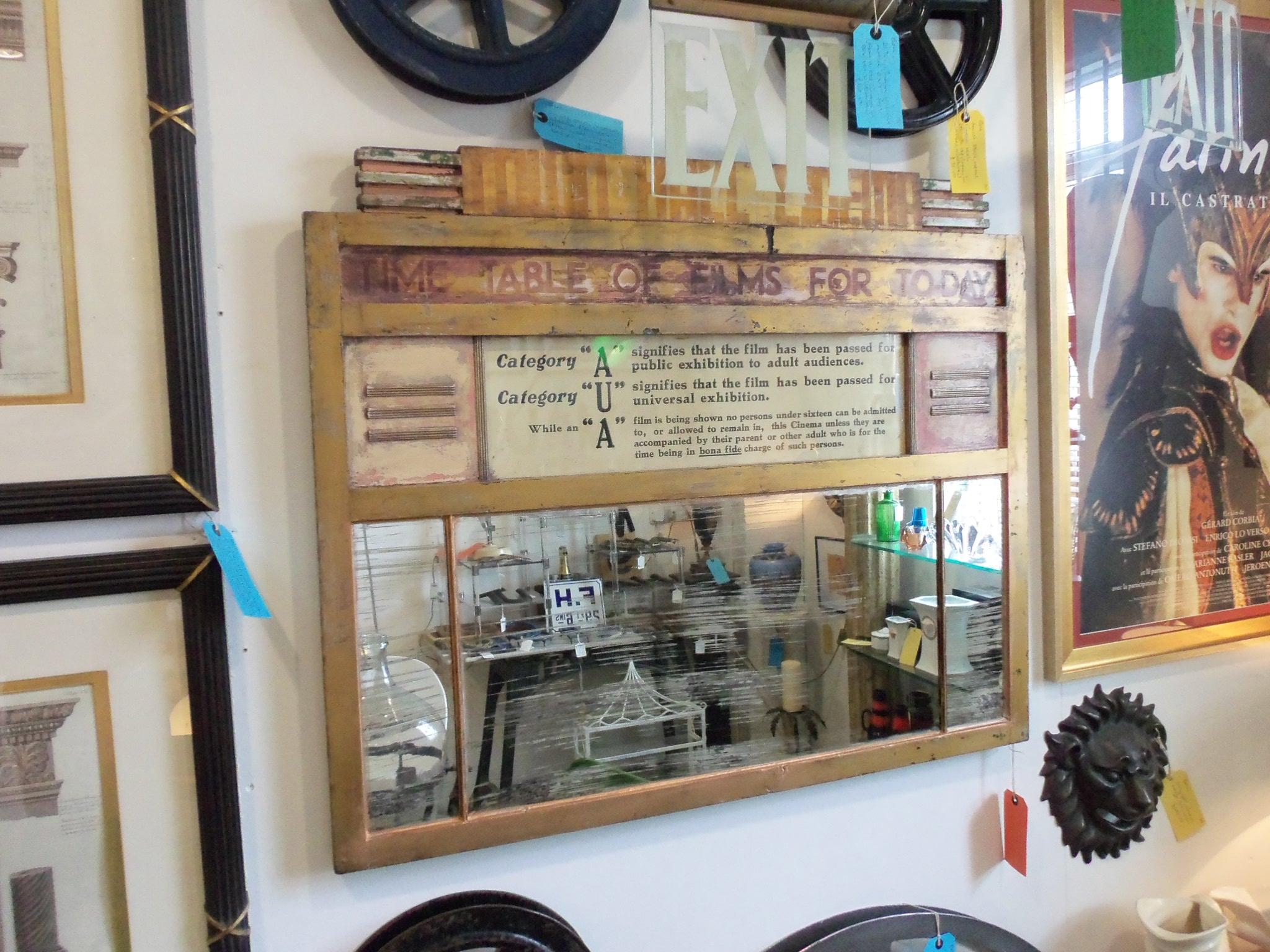 Original cinema mirror Oxfordshire Antiques Centre