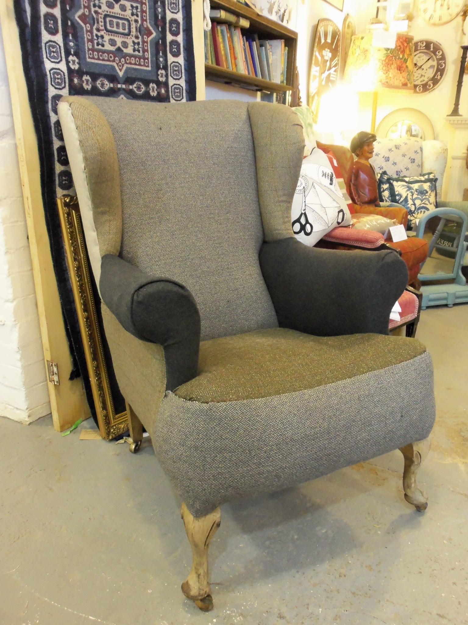 Vintage tweed patchwork panel chair