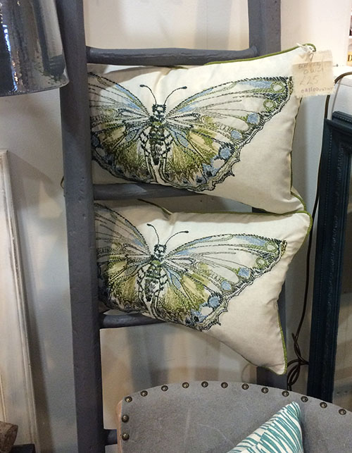 Embroided Butterfly Cushions, Unit 47 Interiors