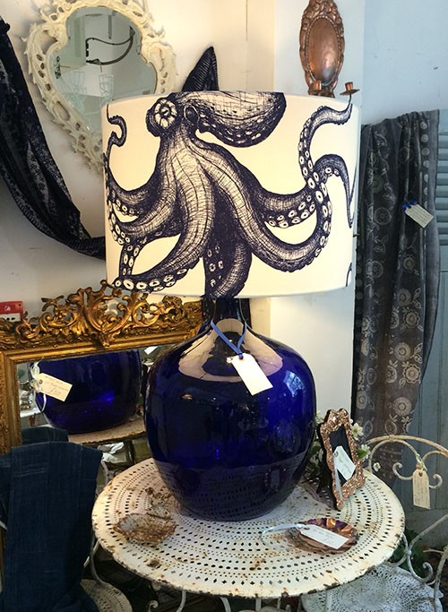 Glass Lamp with Handmade Octopus Print, Unit 21 Interiors
