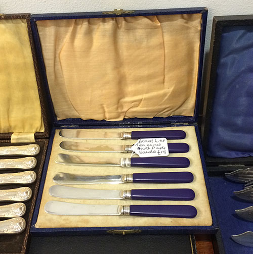 Tea Knives with Purple Handle, Unit 44 Vintage