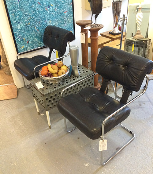 Black Leather and Chrome Chairs, Unit 55 Vintage