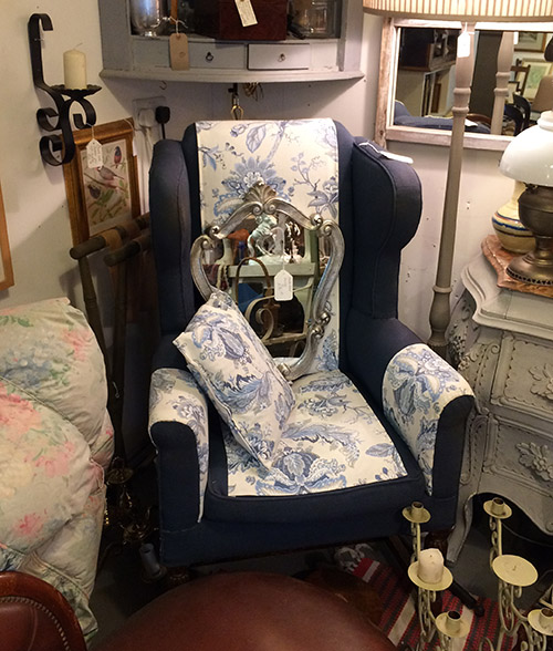 Upholstered Wingback Chair Unit 40 Vintage