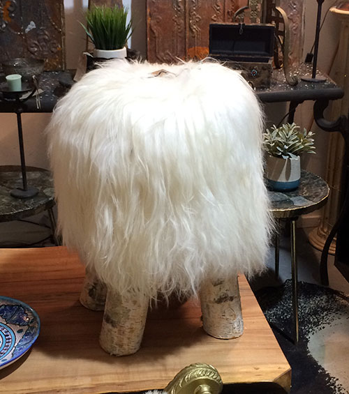 Birch Sheepskin Stool, Interiors