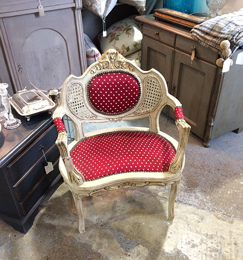 Pair of red salon chairs, Unit 15 Interiors
