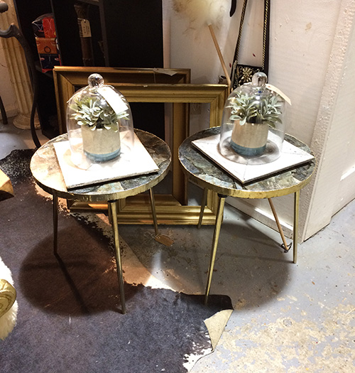 Pair of stone composite side tables, Unit 8 Interiors