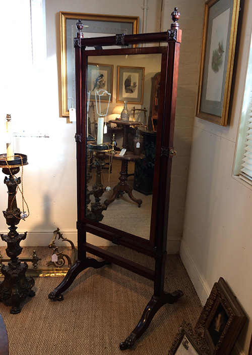 Victorian Mahogany Cheval Mirro, Unit 54 Antiques