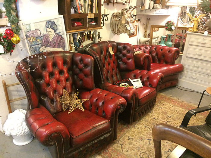 Red Leather Chesterfield chairs, Unit 40 Interiors